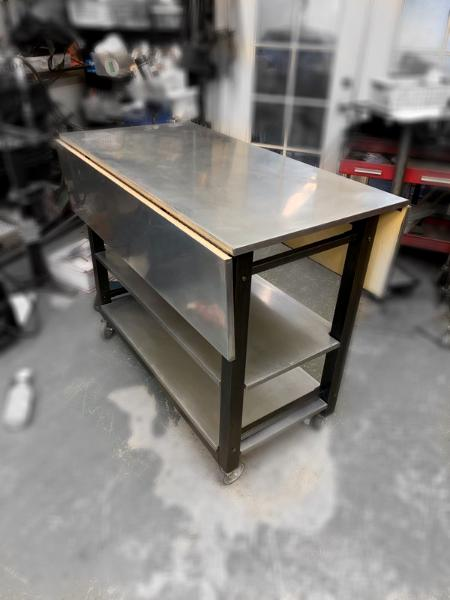 Custom rolling cart with Zinc top and shelves