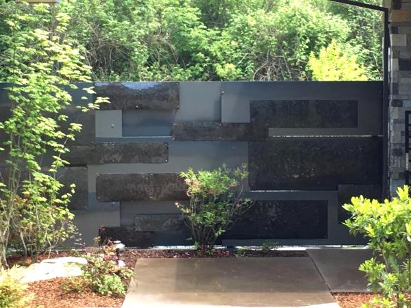Steel Wall with Hammered Steel Accents